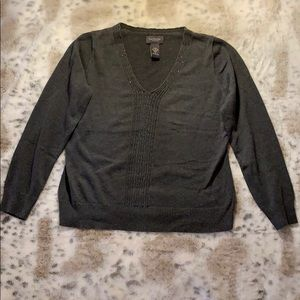 Gray lightweight sweater with beading detail